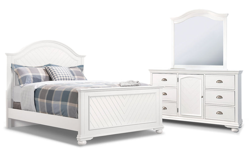 Brooke 5-Piece Queen Bedroom Package – White|Ensemble de chambre à coucher Brooke 5 pièces avec grand lit - blanc