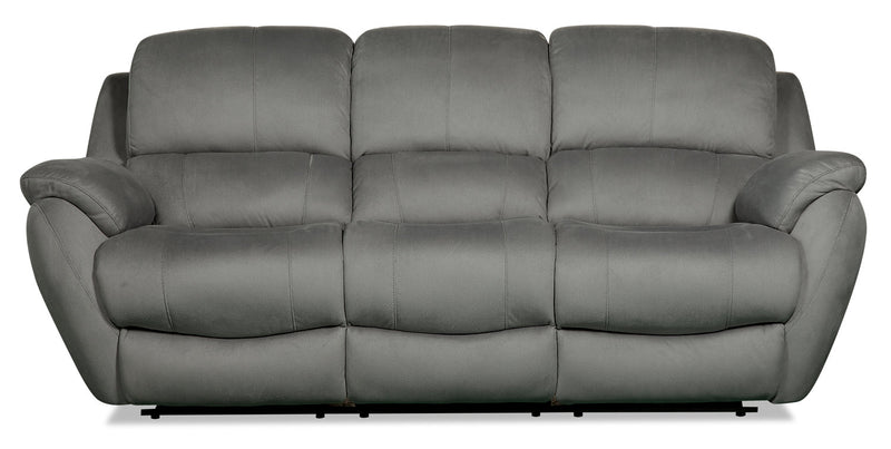 Brody Faux Suede Power Reclining Sofa - Grey - {Contemporary} style Sofa in Grey {Solid Woods}, {Plywood}