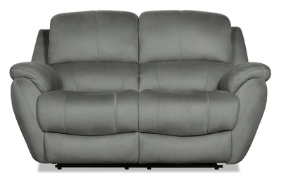 Brody Faux Suede Reclining Loveseat - Grey - {Contemporary} style Loveseat in Grey {Solid Woods}, {Plywood}