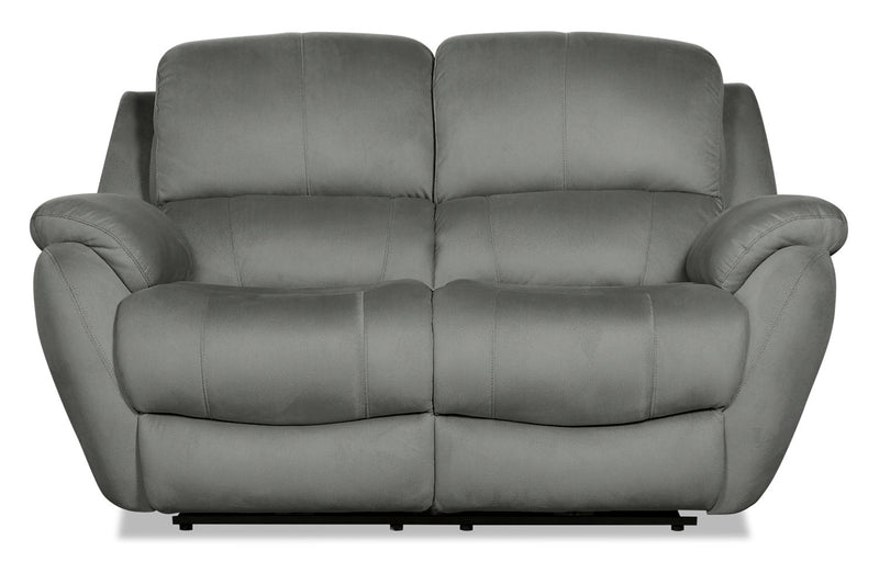Brody Faux Suede Reclining Loveseat - Grey|Causeuse inclinable Brody en suédine - grise