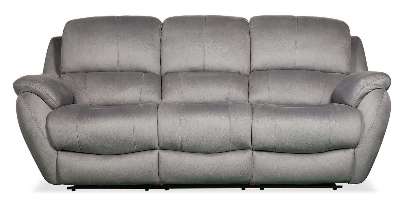 Brody Faux Suede Reclining Sofa Grey The Brick