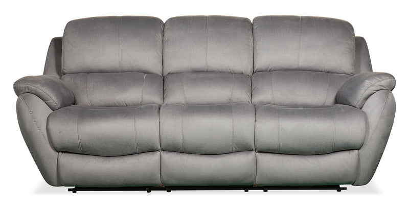 Brody Faux Suede Reclining Sofa - Grey - {Contemporary} style Sofa in Grey {Solid Woods}, {Plywood}