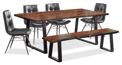 Bowery 6-Piece Dining Package - {Rustic}, {Industrial} style Dining Room Set