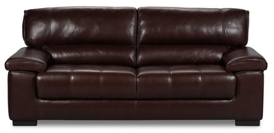 Chateau d'Ax 100% Genuine Leather Sofa - Dark Brown|Sofa Chateau d'Ax en cuir 100 % véritable - brun foncé|C827B-S