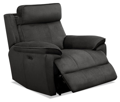 Cabrio Linen-Look Fabric Power Recliner with Power Headrest - Grey - {Contemporary} style Chair in Grey {Solid Hardwoods}
