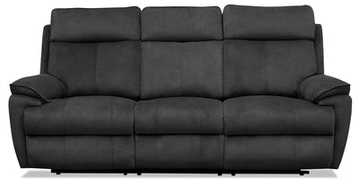 Cabrio Linen-Look Fabric Power Reclining Sofa with Power Headrest - Grey
