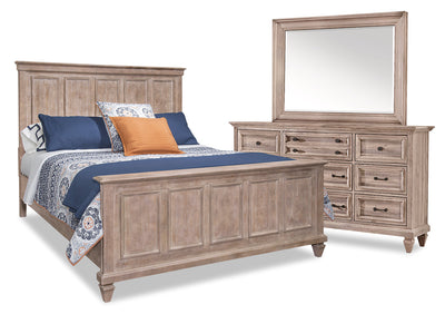 Calistoga 5-Piece Queen Bedroom Package – Dovetail Grey - Rustic style Bedroom Package in Grey Brown Pine Solids
