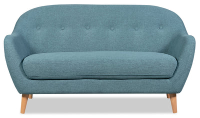 Calla Linen-Look Fabric Loveseat – Blue - Modern style Loveseat in Blue