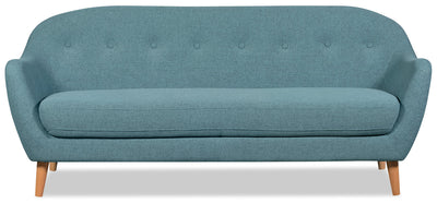 Calla Linen-Look Fabric Sofa – Blue - Modern style Sofa in Blue
