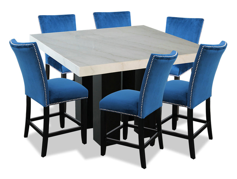 Cami 7-Piece Counter-Height Dining Set - Blue   The Brick