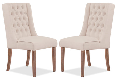 Caroline Wing Chair, Set of 2 – Ivory|Chaise à oreilles Caroline, ensemble de 2 - ivoire|CAR2WDAP