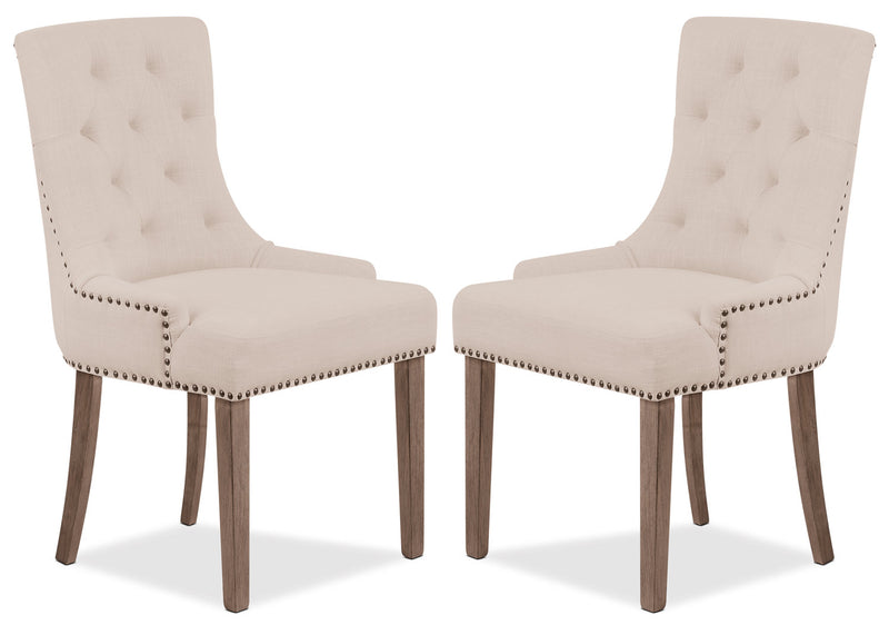 Caroline Wing Side Chair, Set of 2 – Ivory|Chaise à oreilles Caroline, ensemble de 2 - ivoire|CAR2WDWP