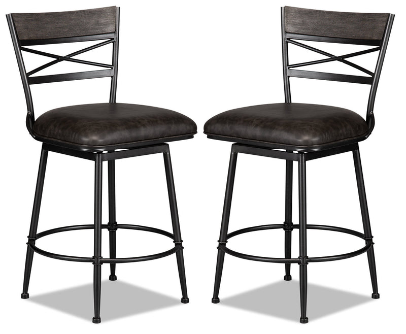 Cardale Counter-Height Bar Stool, Set of 2 - {Contemporary} style Bar Stool in Weathered Grey {Metal}