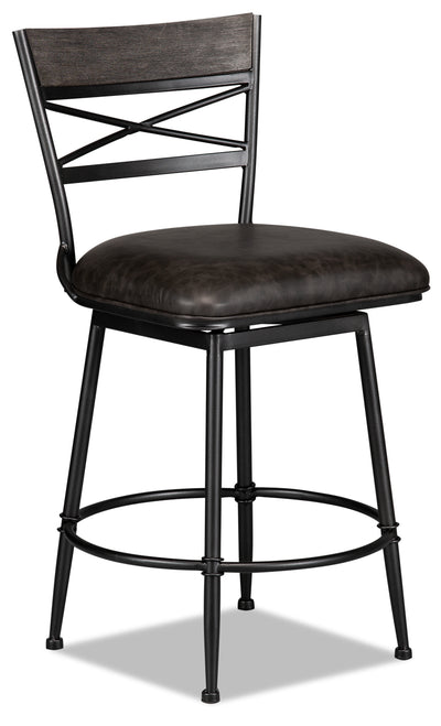 Cardale Counter-Height Bar Stool - {Contemporary} style Bar Stool in Weathered Grey {Metal}