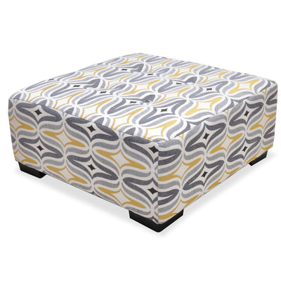 Carey Linen-Look Fabric Accent Ottoman - Grey and Yellow|Pouf d'appoint Carey en tissu d'apparence lin - gris et jaune|CAREYGOT
