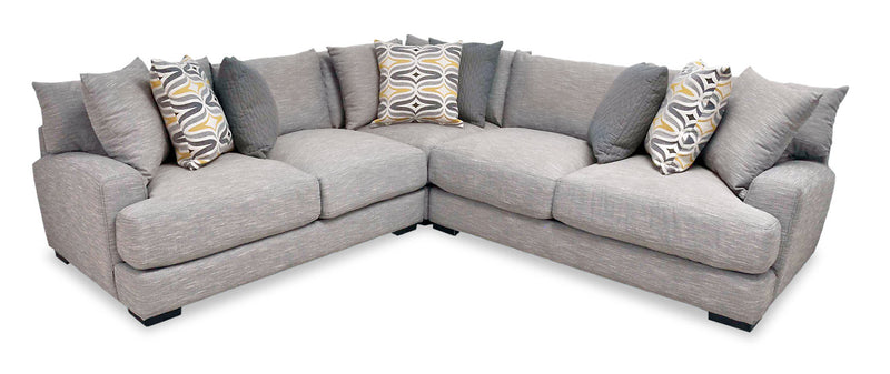 Carey 3-Piece Linen-Look Fabric Sectional - Fog - {Contemporary} style Sectional in Grey {Plywood}, {Solid Woods}