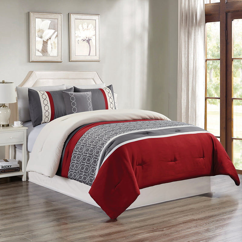 Carlin Red and Grey 4-Piece King Comforter Set|Ensemble d'édredon Carlin 4 pièces rouge et gris pour très grand lit