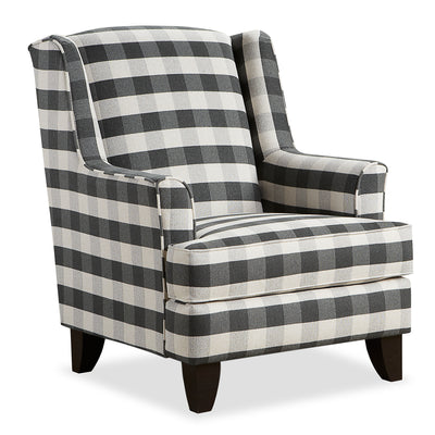 Carma Linen-Look Fabric Accent Chair - Brock Charcoal|Fauteuil d'appoint Carma en tissu d'apparence lin - anthracite blaireau|CARMCHAC