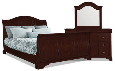 Carmen 5-Piece Queen Bedroom Package – Cherry - Traditional style Bedroom Package in Cherry Poplar Solids and Birch Veneers
