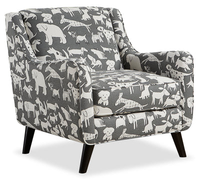 Carma Linen-Look Fabric Accent Chair – Doggie Graphite|Fauteuil d'appoint Carma en tissu d'apparence lin - graphite chien|CARMGRAC