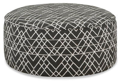 Carma Chenille Cocktail Ottoman - Hyphen Onyx|Pouf table à café Carma en chenille - onyx trait d'union|CARMONCO