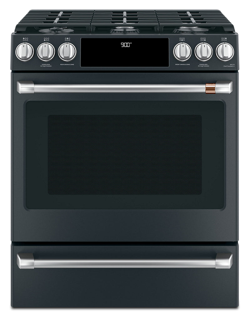"Café 30"" Slide-In Dual-Fuel Convection Range - CC2S900P3MD1 - Dual Fuel Range in Matte Black"