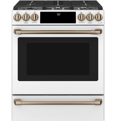 Café Slide-In Gas Range with Convection - CCGS700P4MW2 - Gas Range in Matte White