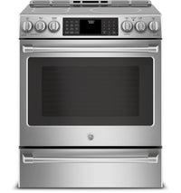 GE Café 5.6 Cu. Ft. Slide-In Wi-Fi Induction Range with PreciseAir Convection – CCHS985SELSS