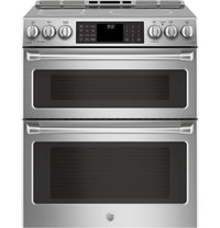 GE Café 6.7 Cu. Ft. Slide-In Wi-Fi Induction Double Oven Range with PreciseAir Convection – CCHS995SELSS