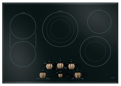 "Café 30"" Electric Cooktop with Knobs - CEP70303MS2 - Electric Cooktop in Black on Stainless with Brushed Bronze Knobs"