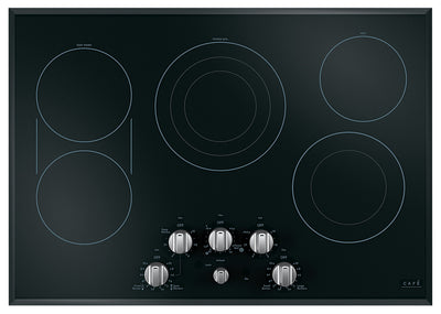 "Café 30"" Electric Cooktop with Knobs - CEP70302MS1 - Electric Cooktop in Black on Stainless with Stainless Steel Knobs"