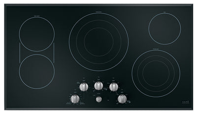 "Café 36"" Electric Cooktop with Knobs - CEP70362MS1 - Electric Cooktop in Black on Stainless with Stainless Steel Knobs"