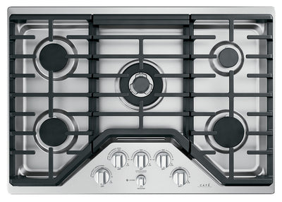 "Café 30"" Built-In 5-Burner Gas Cooktop - CGP95302MS1 - Gas Cooktop in Stainless Steel with Brushed Stainless Knobs"