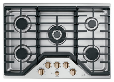 "Café 30"" Built-In 5-Burner Gas Cooktop - CGP95303MS2 - Gas Cooktop in Stainless Steel with Brushed Bronze Knobs"