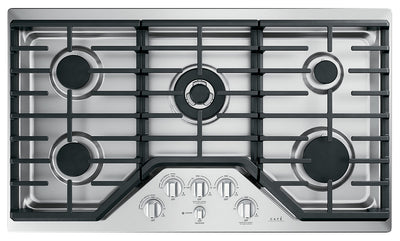 "Café 36"" Built-In 5-Burner Gas Cooktop - CGP95362MS1 - Gas Cooktop in Stainless Steel with Brushed Stainless Knobs"