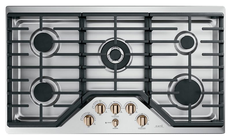 "Café 36"" Built-In 5-Burner Gas Cooktop - CGP95363MS2 - Gas Cooktop in Stainless Steel with Brushed Bronze Knobs"