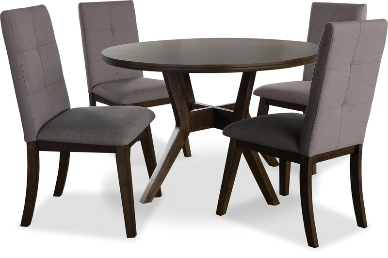 Chelsea 5-Piece Round Dining Table Package with Brown Chairs|Ensemble de salle à manger Chelsea 5 pièces avec table ronde et chaises brunes