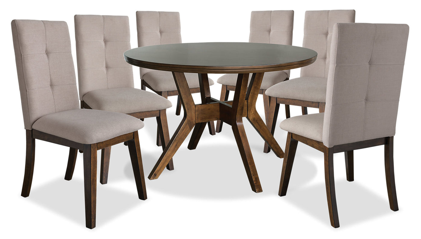 Chelsea 7 Piece Round Dining Table Package With Beige Chairs|Ensemble De  Salle à ...