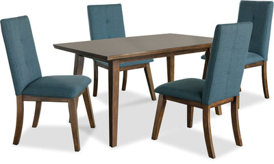 Chelsea 5-Piece Dining Package with Aqua Chairs - {Contemporary} style Dining Room Set
