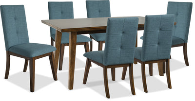 Chelsea 7-Piece Dining Package with Aqua Chairs - {Contemporary} style Dining Room Set