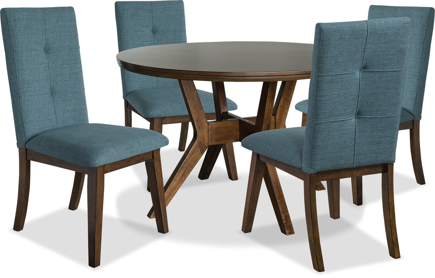 Picture of: Chelsea 5 Piece Round Dining Table Package With Aqua Chairs The Brick