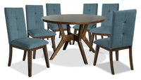 Chelsea 7-Piece Round Dining Table Package with Aqua Chairs