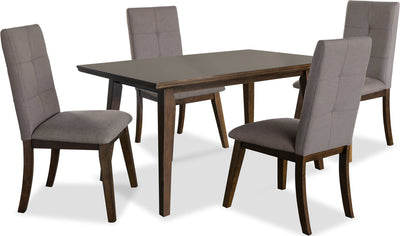 Chelsea 5-Piece Dining Package with Brown Chairs - {Contemporary} style Dining Room Set