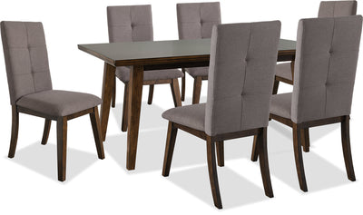 Chelsea 7-Piece Dining Package with Brown Chairs - {Contemporary} style Dining Room Set