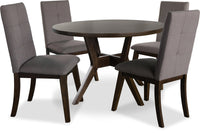 Chelsea 5-Piece Round Dining Table Package with Brown Chairs
