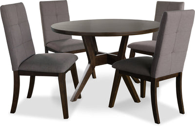 Chelsea 5-Piece Round Dining Table Package with Brown Chairs|Ensemble de salle à manger Chelsea 5 pièces avec table ronde et chaises brunes|CHE3CRP5