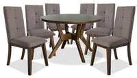 Chelsea 7-Piece Round Dining Table Package with Brown Chairs