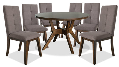 Chelsea 7-Piece Round Dining Table Package with Brown Chairs|Ensemble de salle à manger Chelsea 7 pièces avec table ronde et chaises brunes|CHE3CRP7