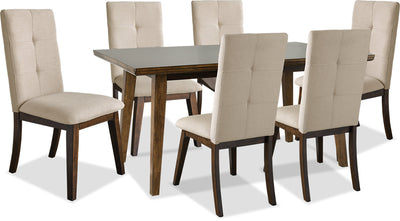 Chelsea 7-Piece Dining Table Package with Beige Chairs - {Contemporary} style Dining Room Set