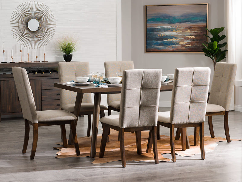 Chelsea 7 Piece Dining Table Package With Beige Chairs The Brick